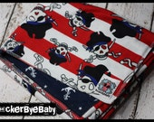 RockerByeBasics Baby or Toddler Blanket Pirate Stripe Red Nautical with navy Anchors flannel boys 36x42