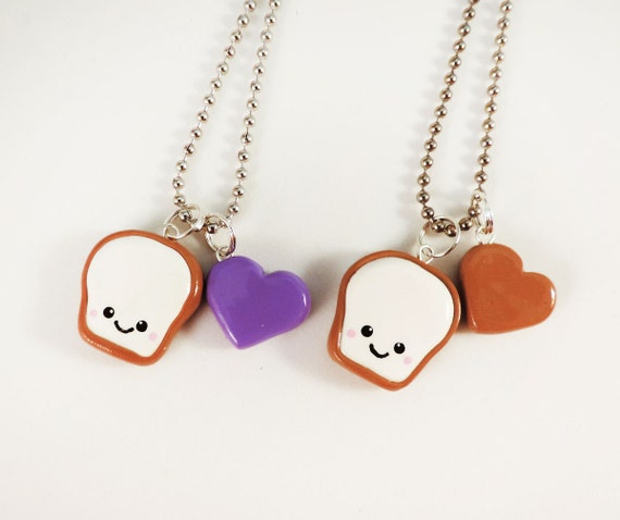 Smiling Peanut Butter and Jelly Best Friend Necklaces by cbexpress