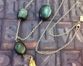 SPRING SALE-Ginkgo Leaf and Labradorite Necklace- WAS 50 dollars