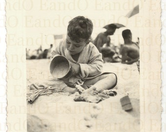 Making Sandcastles - Fantastic 1940s Snapshot of a Young Boy Playing at the Beach in the Sand
