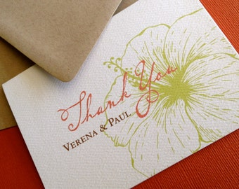 Vintage Hawaiian- personalized thank you cards, set of 40