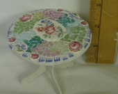 Broken China and Stained Glass Mosaic Dollhouse Miniature Round Dining Table Kitchen Table Shabby Cottage Chic