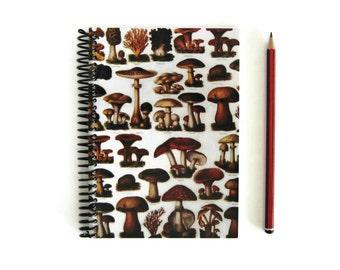Mushrooms Paper Cute A5 Spiral Notebook, Back to School, 5x7 Sketchbook, Woodland Friends, Fungi Notebook, Blank Recipe Book, Spiral Journal