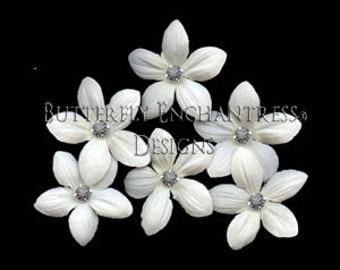 Hair Flowers, Bridal Accessories, Grey Wedding - 6 Creamy White Stephanotis Hair Pins - Gray Rhinestone Centers