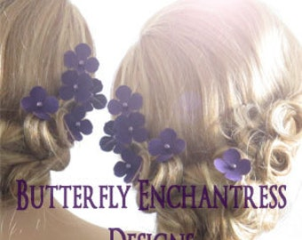 Bridesmaid Hair Flowers, Bridal Accessories - 6 Adora Hydrangea Hair Pins - Purple Blue Coral Pink Red Orange Yellow & Many Other Colors