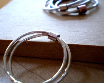 RESERVED - ONE Simply Skinny Spinnerette Rustic Organic Sterling and Copper Ring