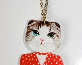 Cat Kitten Charm Acrylic Necklace Fashion Illustration gold plated jewellery chain