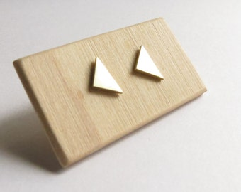 Sterling Silver and Brass Minimalist Triangle Studs