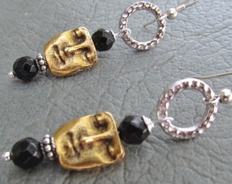 Brass and Sterling Face Earrings