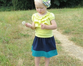 Sizes 6/12mo to 5T - MIDNIGHT LAGOON Color Block Simple Skirt- Boutique Girls Skirt