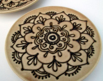 Mehndi Design Plate - Handmade henna design pottery