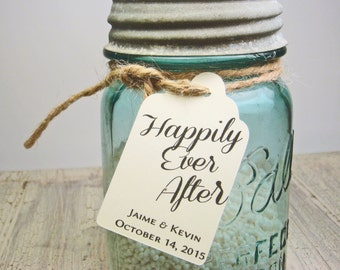 50 Personalized Wedding Favor Tags  - Happily Ever After