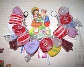 Valentine Charm Bracelet Valentine's Day Jewelry Candy Charm Bracelet Gumdrops Lollipops Chocolate Conversation Hearts Chunky OOAK  Loaded