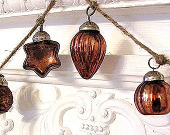 Featured in Romantic Homes Magazine! Hand Strung Mercury Glass Holiday Ornament Garland (Gold/Copper)