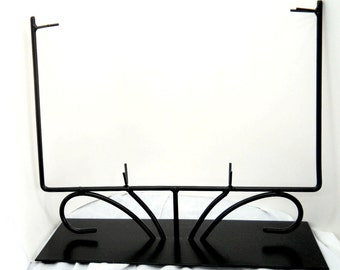 12 Inch Black Fused or Stained Glass Metal Rectangular Display Stand