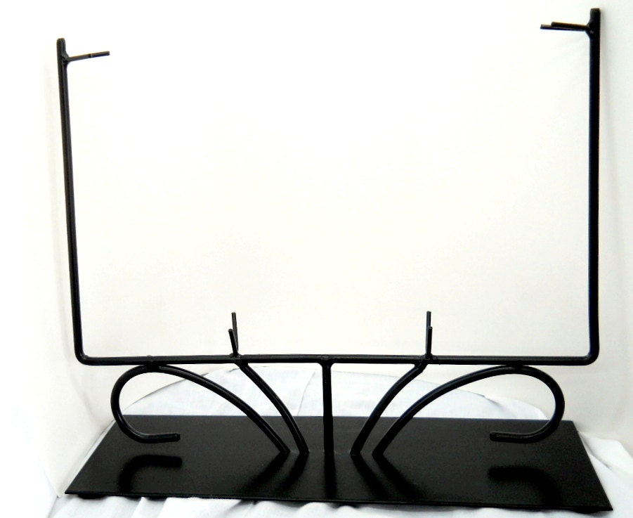 12 inch black fused or stained glass metal rectangular display On présentoir stand