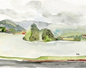 Watercolour painting  travel memories  landscape  seascape  soft hills  horizon  TWIN PEAKS // Scotland  postcard  archival ink watercolours