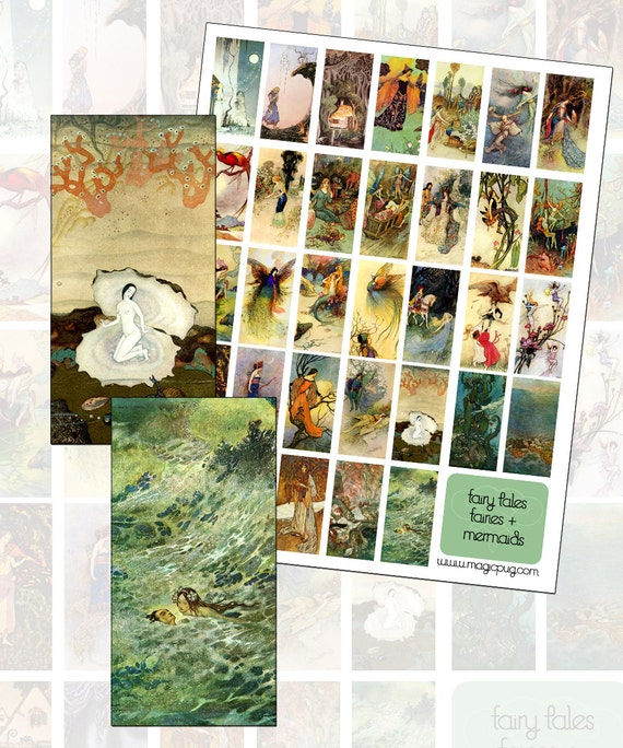 Fairytales Fairies and Mermaids domino Digital Collage Sheet 25mm x 50mm 1x2 inches