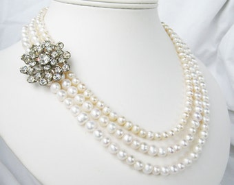 Rhinestone Flower Pearl Necklace, Three Strand Freshwater Pearl Wedding Necklace, Silver, Vintage Rhinestone, Handmade, Flower Burst
