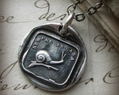 Snail wax seal necklace - Always at Home - antique Italian wax seal jewelry - Home is Where the Heart Is - IS270