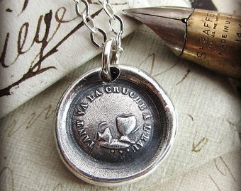 Don't Push Your Luck - Wax Seal Necklace English Proverb - Antique French motto wax seal jewelry - FP375