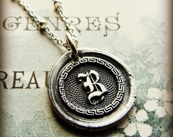 B Vintage Wax Seal Initial in fine silver - Personalized Silver Necklace - Letter B Necklace