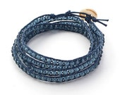 Denim Blue Wrap Bracelet 4 Wraps