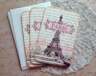 Vintage Paris Notecards - Eiffel Tower Notecards - Flat Notecards, Pink, Sepia, Paris 1889 Exposition - Set of 3