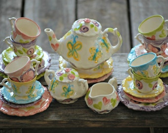 Whimsical Mix-N-Match Tea Party Personalized Little Girl's Tea Set & 4 Tea Cups Handpainted...Animal print, hearts, flowers and more