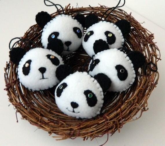 Christmas Panda ornament, Panda Bear Ornament Made to order