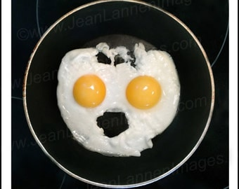 "Yo Mister! - Photograph from ""Sunny Side Up"" Series, Fried Egg Good Morning Food, Yellow Sunshine Happy Joy Smiley Face by Jean Lannen"