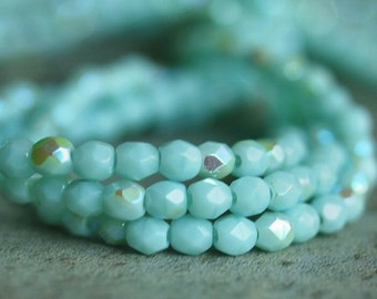 Pale Turquoise AB Czech Glass Bead 3mm Faceted Round : 50 pc Turquoise 3mm Round
