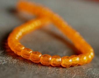 Tangerine 4mm Czech Glass Round Druk Bead : 50 pc Strand