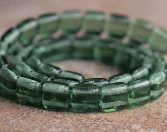 Prairie Green CzechMates Czech Glass Bead 6mm Two Hole Tile : 25 pc