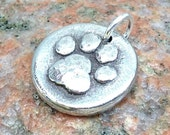 Little Paw Print Pendant, Paw Charm, Rustic Hammered Jewelry, Pet Lover Gift