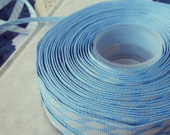 Light Blue and white ribbon Trim 2 metres 2yds Stripe Grosgrain woven craft sewing wrapping