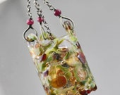CLEARANCE 60 OFF - Old World Lantern Chandelier ~ Glass Lampwork & Gemstone Necklace