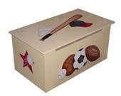 Childrens wooden toy box - Baseball, Football, Basketball and Hockey