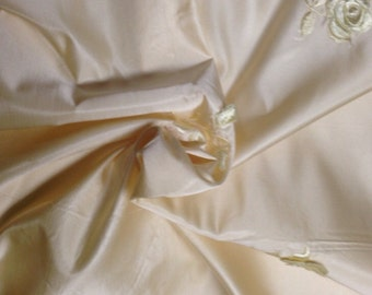 Luscious buttercream vintage silk satin with 3D embroidered flowers