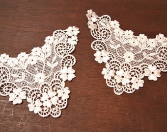 Free Shipping Lace Applique s Neck V  Embellishment You get 2 many available for Bridal Wedding Costume Crafts Embellishment