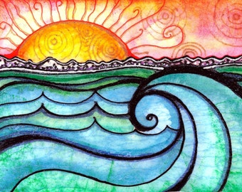 A New Day waves sunset sunrise water beach