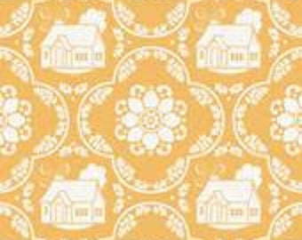 Daisy Cottage - Fabric From Riley Blake - Yellow Houses - 2751 - 8.75 Per Yard