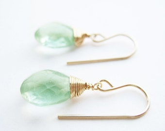 Gold Gemstone Earrings - nickel free mint Green Fluorite drop earrings available in silver, 14k gold filled and bronze