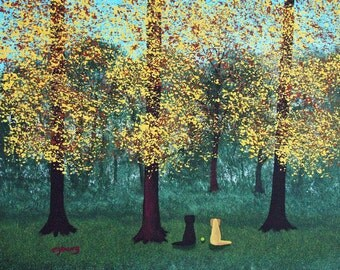 Black Yellow Lab Dog Large Folk Art PRINT of Todd Young painting EARLY FALL