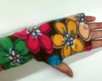 Fingerless Texting Gloves - Fleece Hand Warmers - Floral Print