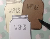 50 Mason Jar tags wish cards rustic vintage baby shower wedding wishes graduation party