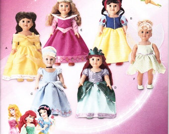 "Simplicity 1581 Doll Clothes 18"" DISNEY Cinderella Ariel American Girl Sewing Pattern NEW UNCUT"