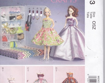 "McCalls 6903 Doll Clothes and Accessories For 11.5"" Barbie Doll Sewing Pattern New UNCUT"