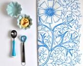 Linen Tea Towel - Sky Blue Filigree