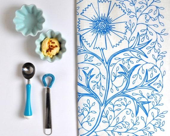SALE Linen Tea Towel - Sky Blue Filigree